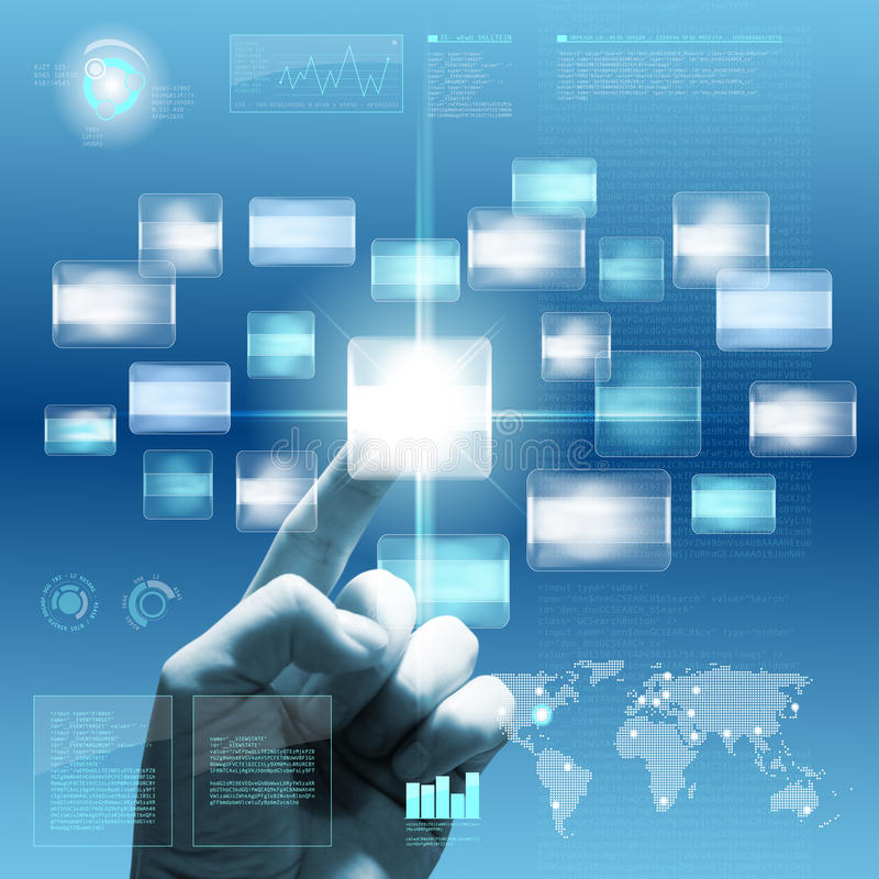 Download Future Touchscreen Interface With Hand Royalty Free Stock Photography - Image: 22925037