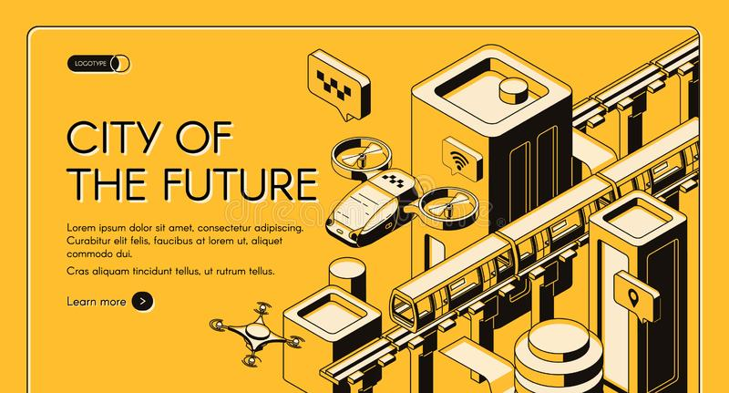 Future transport technologies vector web banner. City of future isometric vector web banner, landing page template. Flying taxi copter, delivery drone, monorail stock illustration