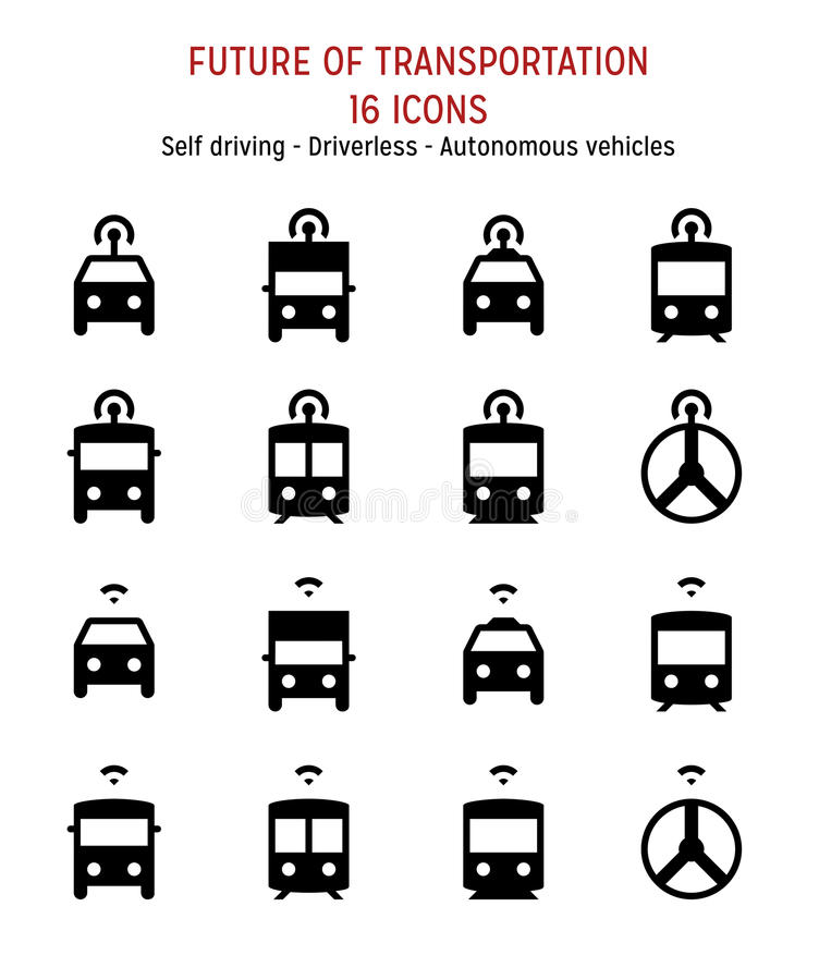 Future of transportation: Self driving, connected, smart, autonomous, driverless vehicles. Self driving, connected, smart, autonomous, driverless vehicles Pixel royalty free illustration