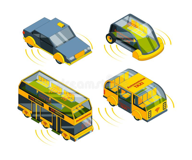 Future unmanned vehicle. Autonomous transport cars buses trucks and trains self control automotive robots system vector royalty free illustration
