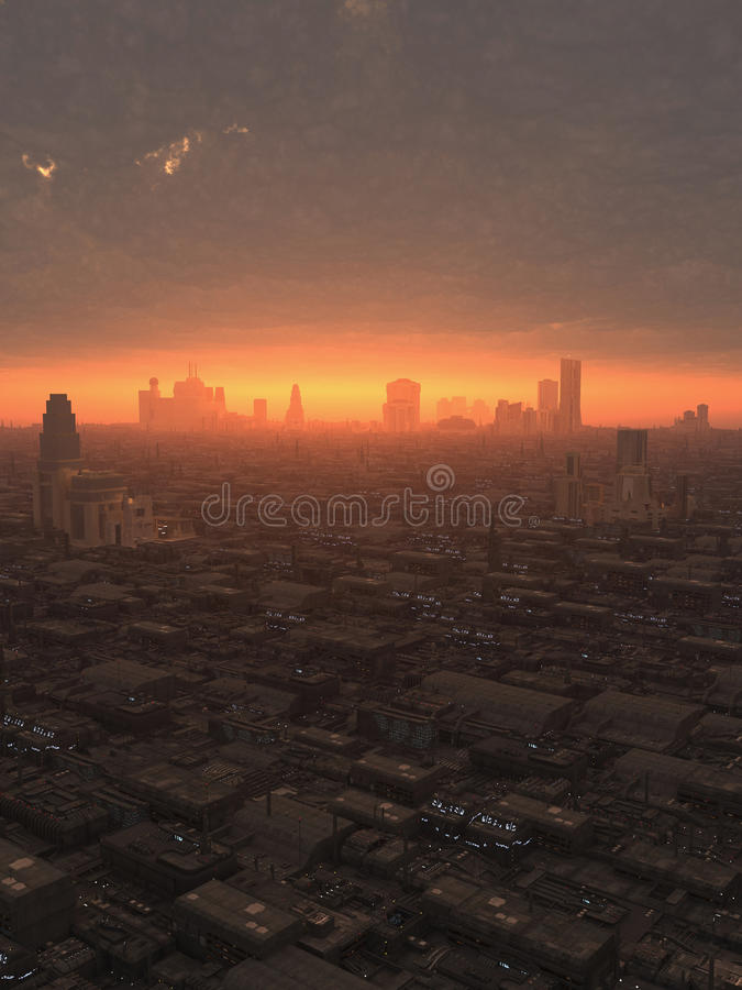 Future ville au coucher du soleil illustration stock