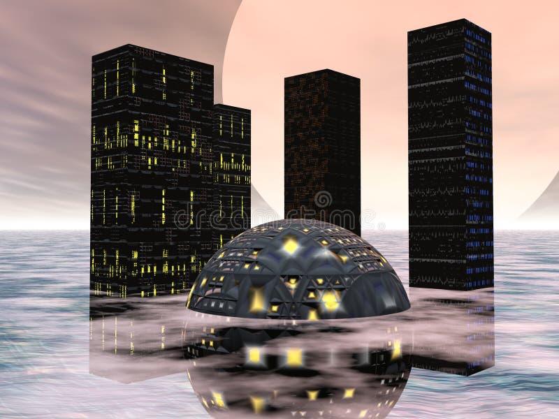 Future ville deux illustration de vecteur