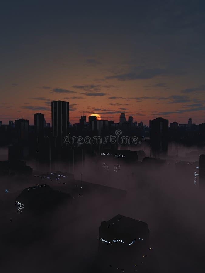 Future ville en Misty Sunrise illustration libre de droits