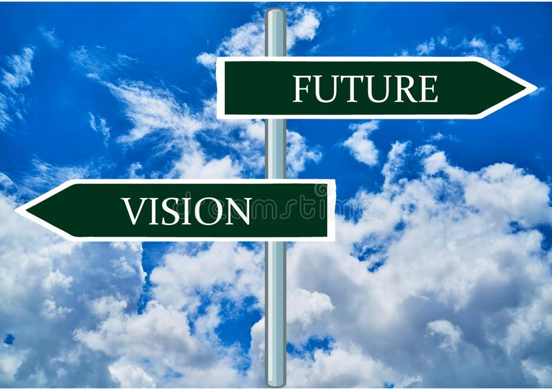 Future & Vision Double Road signpost with blue sky background. stock photography