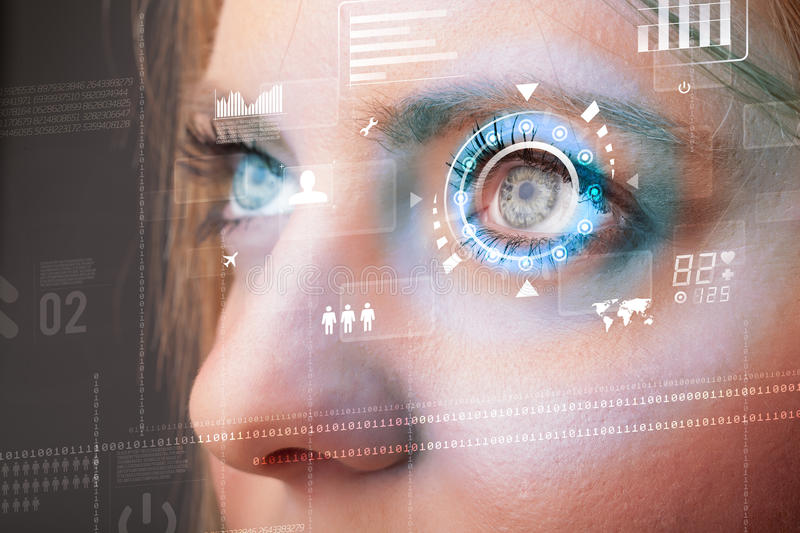 Future woman with cyber technology eye panel royalty free stock photo
