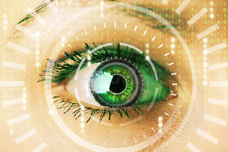 Future woman with cyber technology eye panel. Concept vector illustration