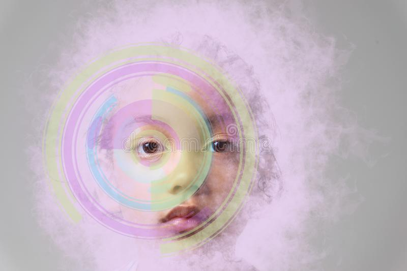 Future woman with eye detection technology isolated by pink smoke stock images