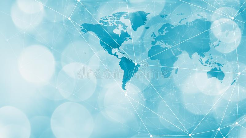 Future world communication technology design lines, circles and world map. Connected dots with lines and graphic world map, creative abstract background. Global royalty free stock images