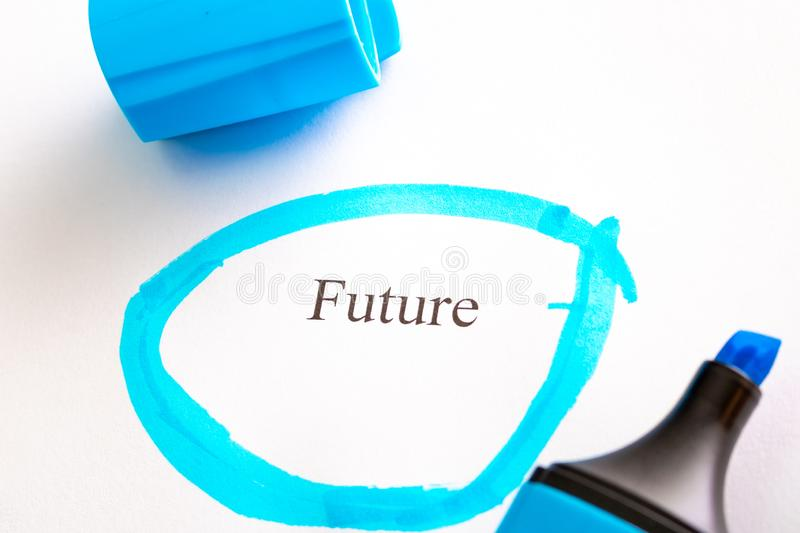 The future is written on white paper and circled in blue. The marker is blue next to the word royalty free stock image