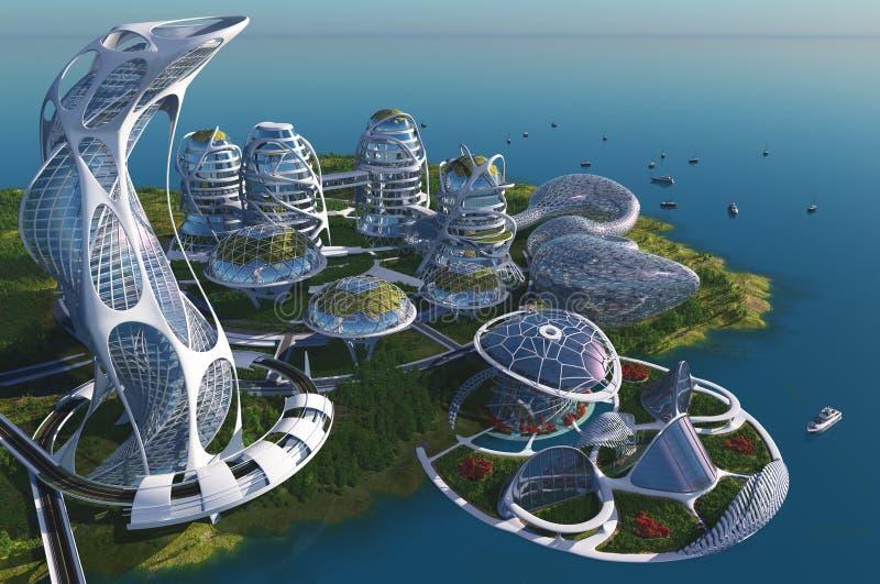 FutureBeautifulstad van fantasie stock illustratie