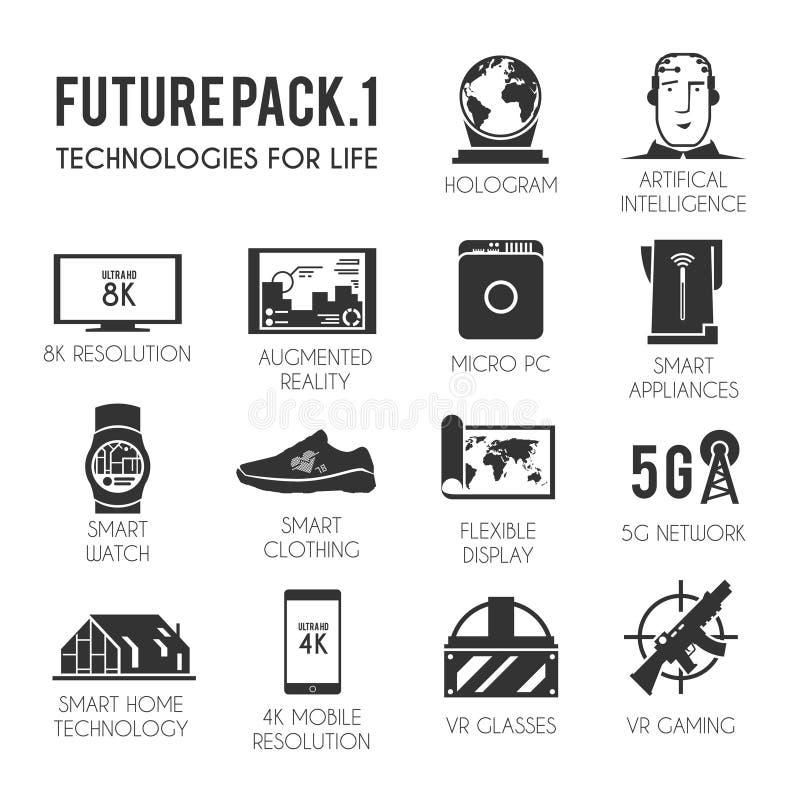 Futures icônes réglées illustration de vecteur