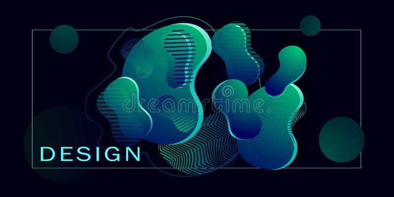 futurism Bolhas do volume com inclinação o fundo consiste nas faixas simétricas, igualmente enchidas com um inclinação ilustração do vetor