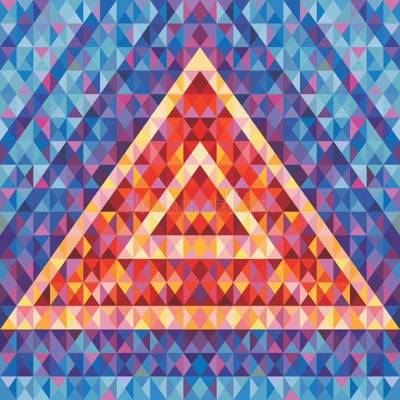 Futurismo retro - fundo abstrato do vetor Pirâmide geométrica abstrata Teste padrão geométrico do vetor ilustração do vetor