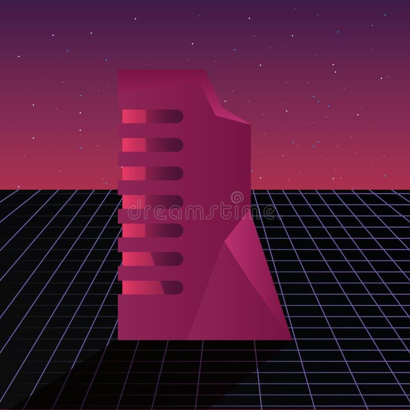 Futurist building digital innovation background royalty free illustration
