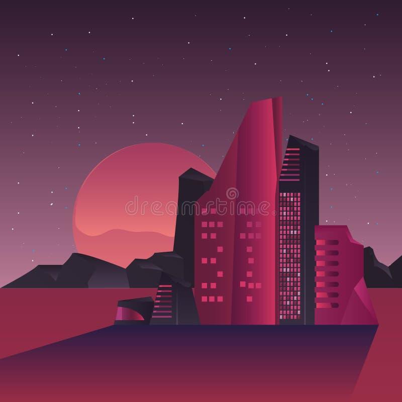 Futurist van de de woestijnmaan van de de bouwstad de nachtscène stock illustratie