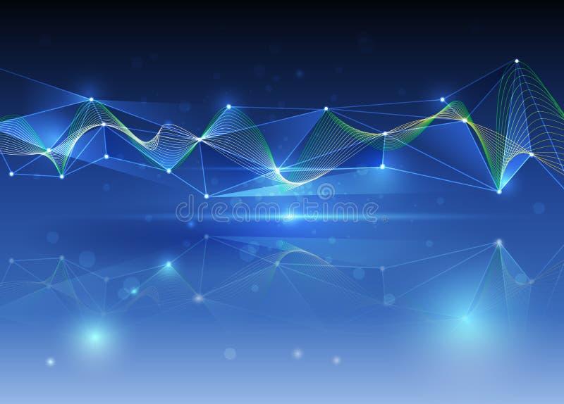 Futurista abstracto - tecnología de las moléculas con el fondo de la onda ilustración del vector