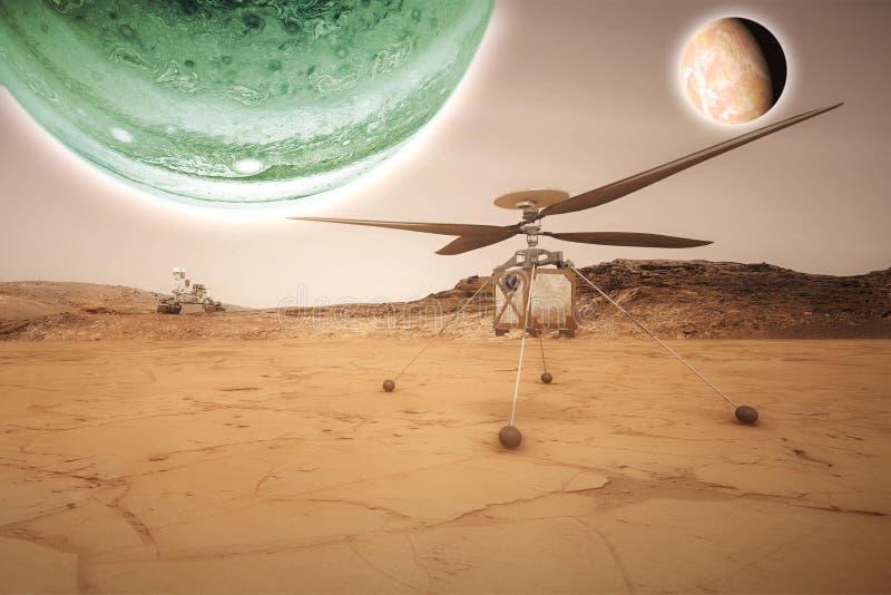 Futurista estraga vasts de exploração do vagabundo do planeta vermelho b imagem de stock