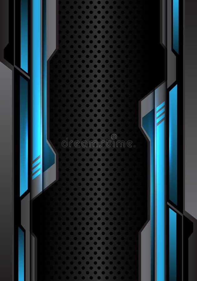 Futurista gris oscuro ligero azul abstracto en vector futurista moderno del fondo del diseño de la malla del círculo libre illustration