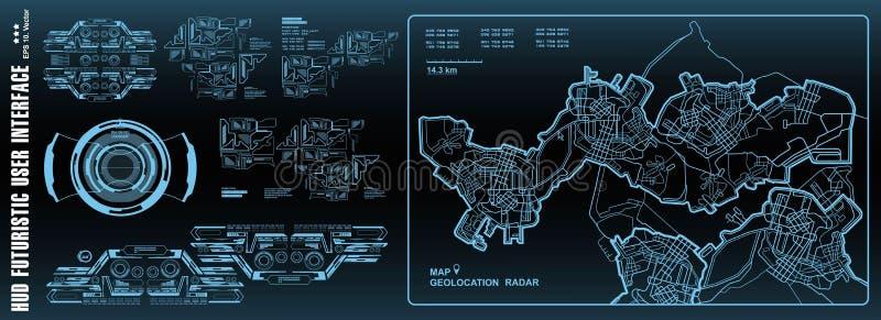 Futurista navegue trazando la tecnología, mapa de GPS del tablero de instrumentos Interfaz de usuario de HUD, pantalla de la tecn ilustración del vector