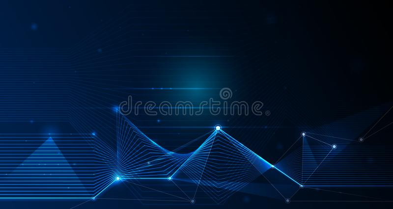 Futuriste abstrait - la technologie de molécules avec le modèle linéaire et polygonal forme avec des lignes de maille et le scint illustration stock