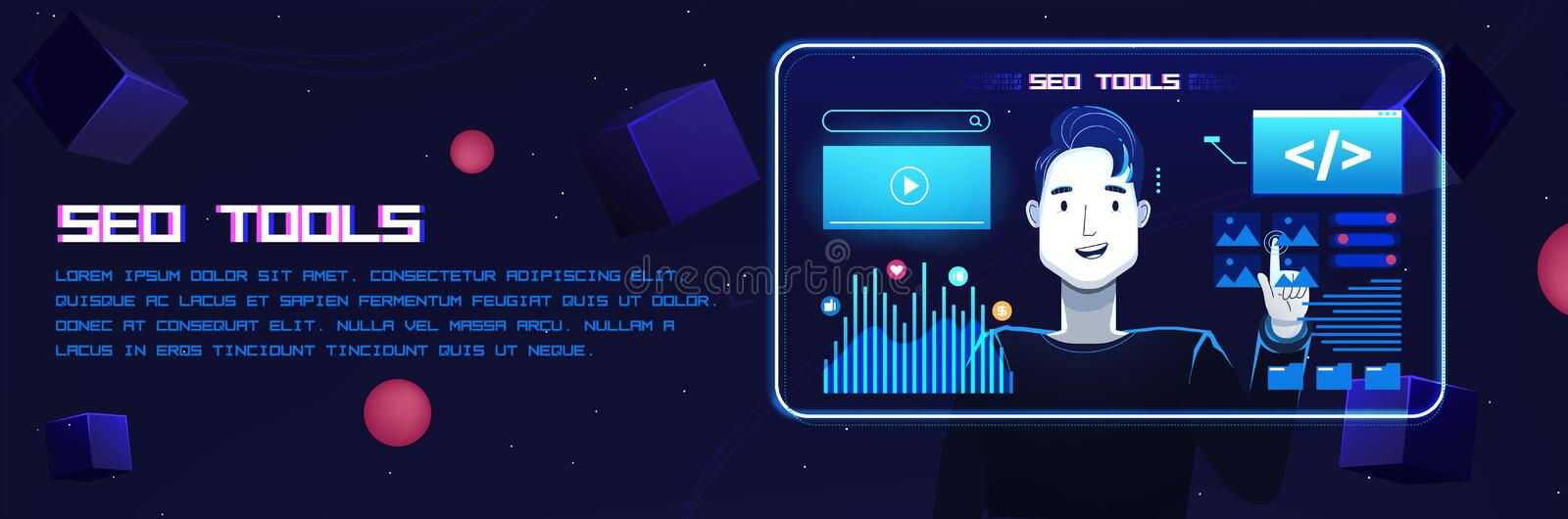 Seo digital tools. A man manages files on a futuristic neon screen. Vector flat illustration with texture royalty free illustration