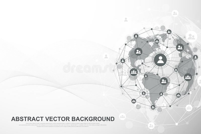 Futuristic abstract background blockchain technology. Global internet network connection. Peer to peer network business royalty free illustration