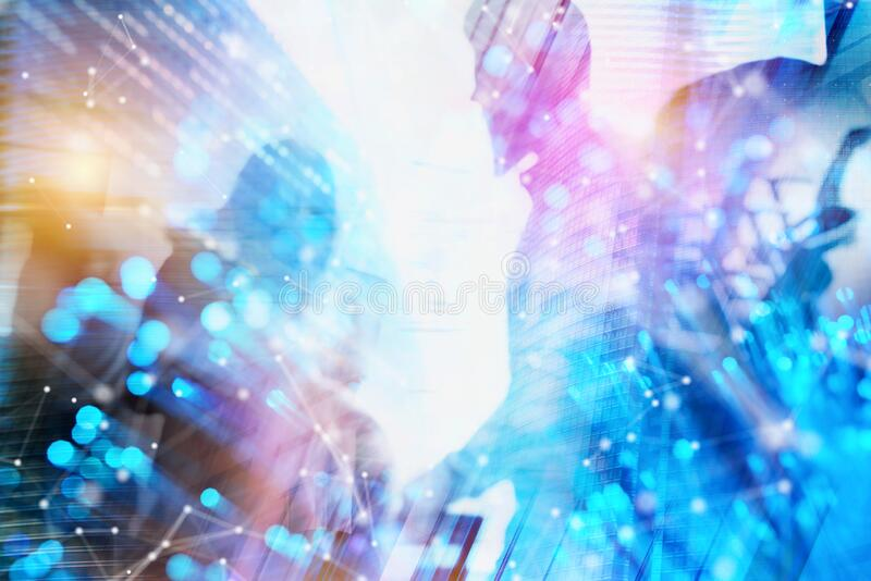 Futuristic Abstract background of businessmen that work together in networking. Concept of teamwork and partnership stock photo
