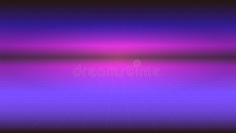 Futuristic abstract background with stretches beyond the horizon of the surface. Horizontal Sci-fi retro gradient vector illustration