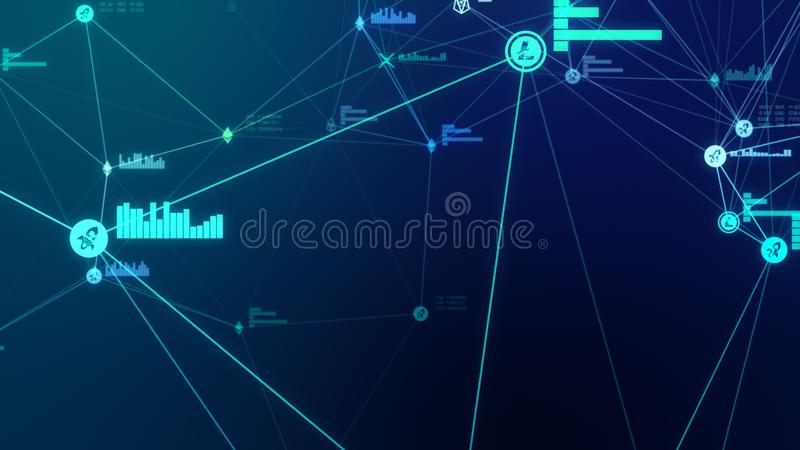 Futuristic abstract blue cryptocurrency network connection 3D illustration. Futuristic abstract blue cryptocurrency connection 3D illustration. Blockchain nodes stock image