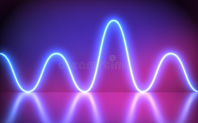 Futuristic Abstract Blue And Purple Neon Wave motion Light Shapes On colorful background and reflective With Empty Space For Text. Render, laser show, night royalty free illustration