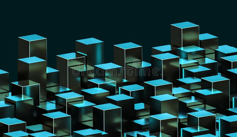 Futuristic abstract green and cyan metallic glowing cuboids illustration. Construction, city, architecture, data concepts. 3d royalty free illustration