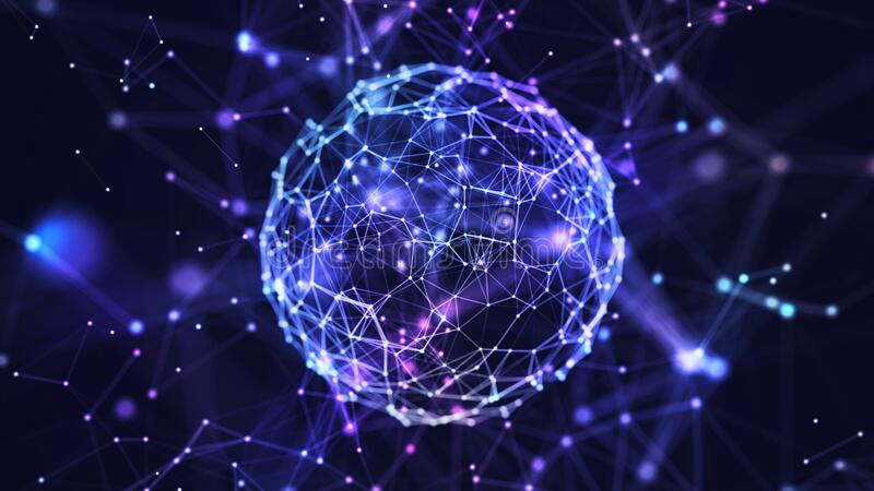 Abstract internet connection network globe background with motion effects. stock image