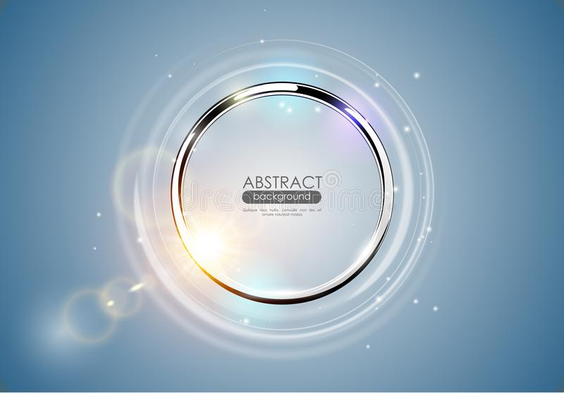 Futuristic abstract metal ring blue background. Chrome shine round frame with light circle and sun lens flare light effect. Vector vector illustration