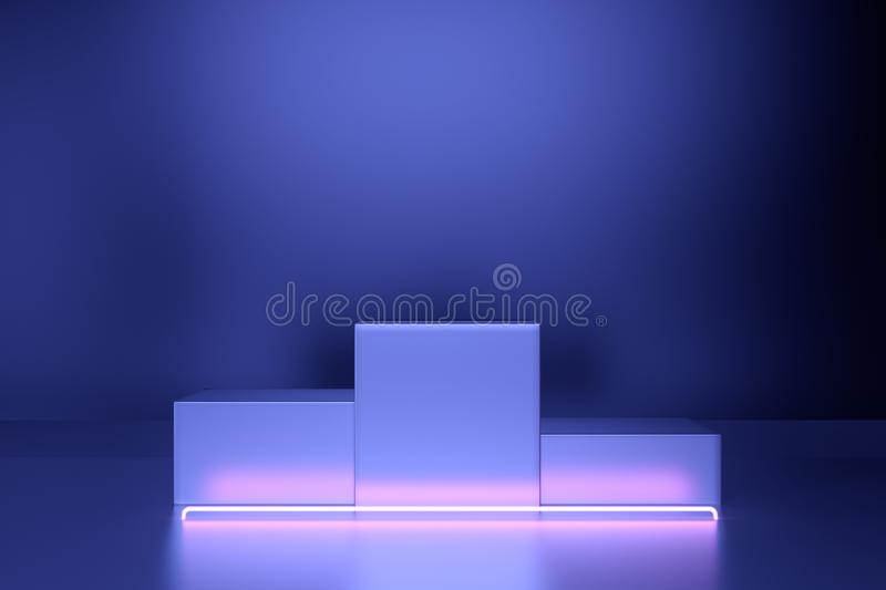 Futuristic Abstract Neon Light With Empty Space pedestal. 3D Rendering vector illustration