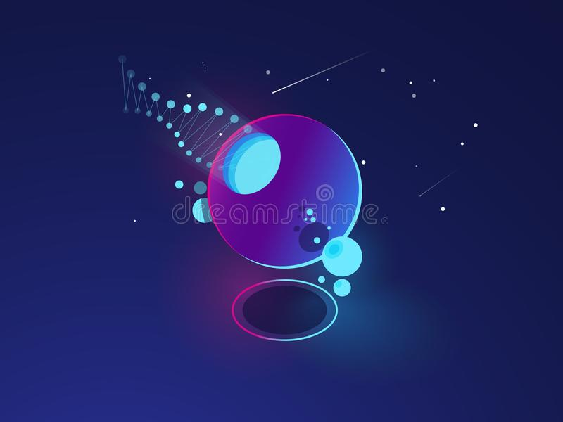 Futuristic abstract object, space system model, orbit, digital technology concept dark neon isometric stock illustration
