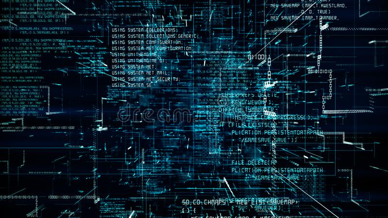 Futuristic abstract programming blue code seamless flythrough vector illustration
