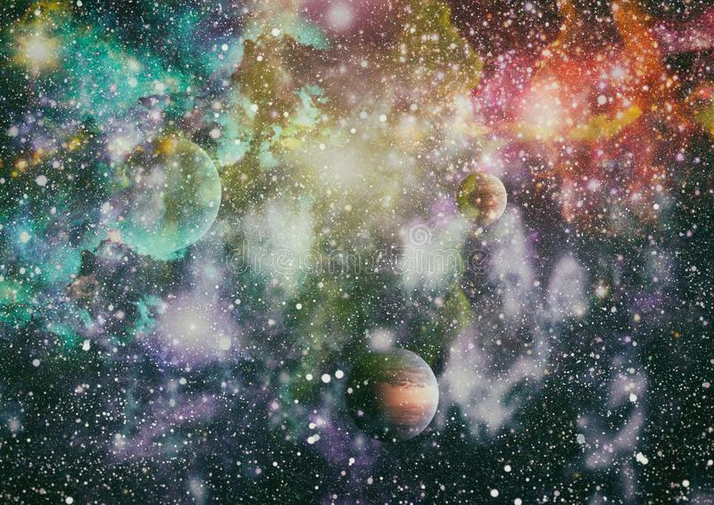 Futuristic abstract space background. Night sky with stars and nebula. Elements of this image furnished by NASA royalty free illustration
