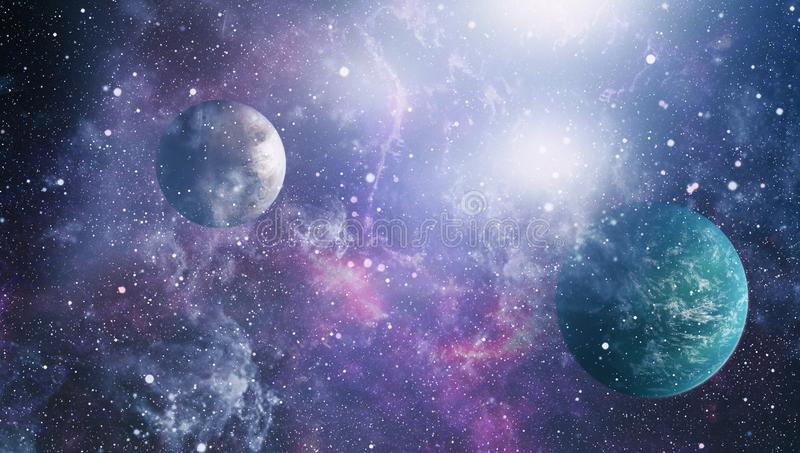 Futuristic abstract space background. Night sky with stars and nebula. Elements of this image furnished by NASA. Small part of an infinite star field of space in vector illustration