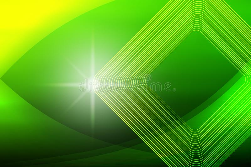 Shiny Sparkle, Square Shapes and Curves in Blurred Green and Yellow Background vector illustration