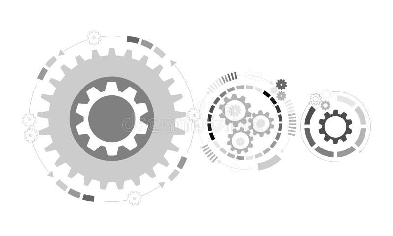 futuristic abstrakt bakgrund Hjul för vektorillustrationkugghjul, sexhörningar och strömkretsbräde, royaltyfri illustrationer