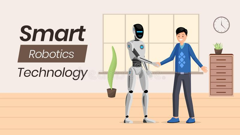 Futuristic ai technology vector banner template. Young man and humanoid robot shaking hands characters. Artificial. Futuristic ai technology vector banner vector illustration