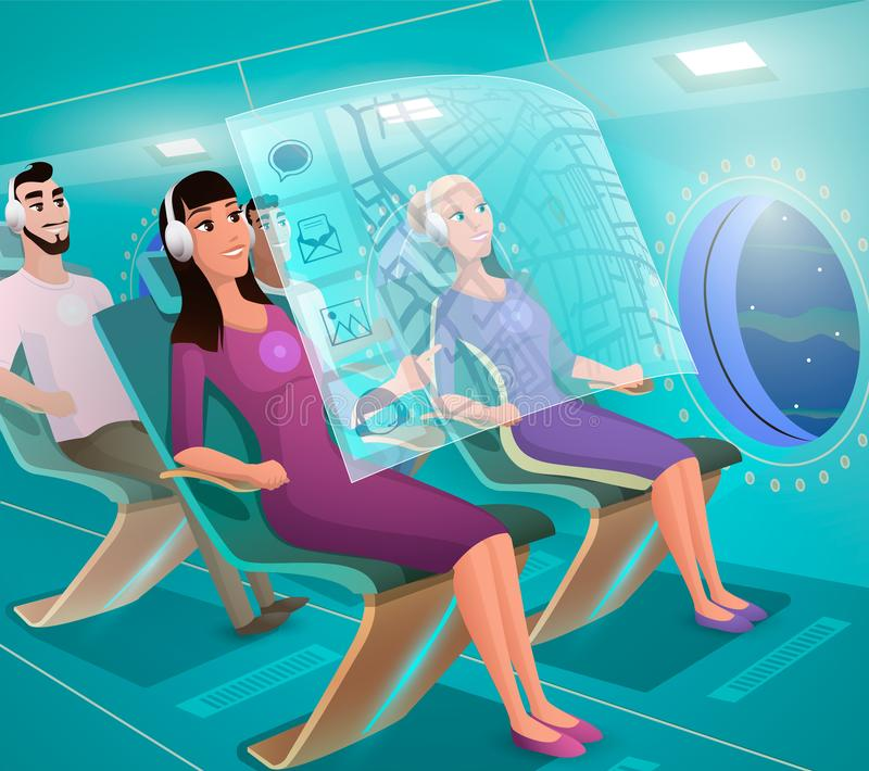 Future Airline Clients in Futuristic Plane Vector. Futuristic Airplane Passengers Using Virtual Infotainment System, Working with Touchscreen, Following Route stock illustration