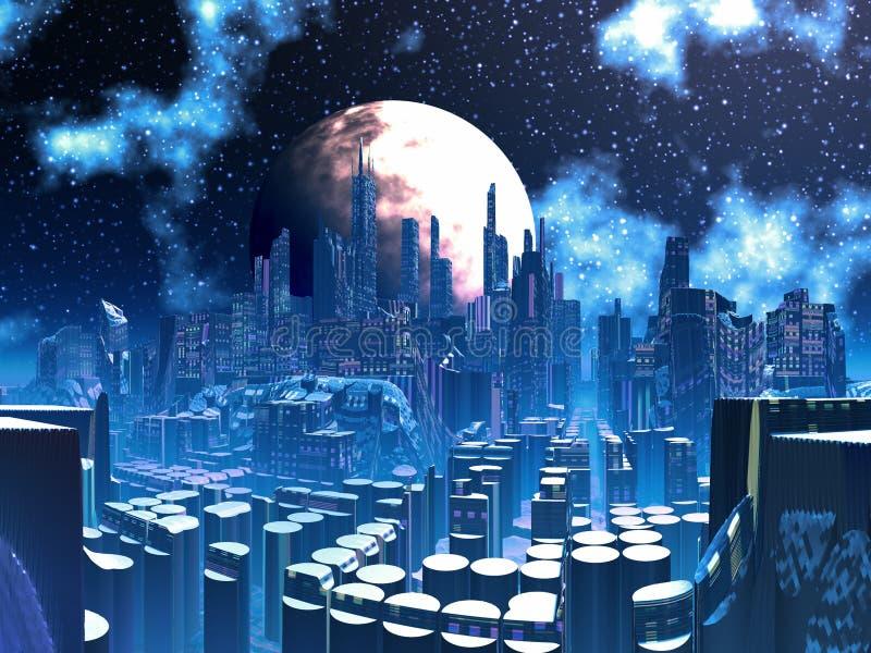 Futuristic Alien City built on Pylon Supports vector illustration