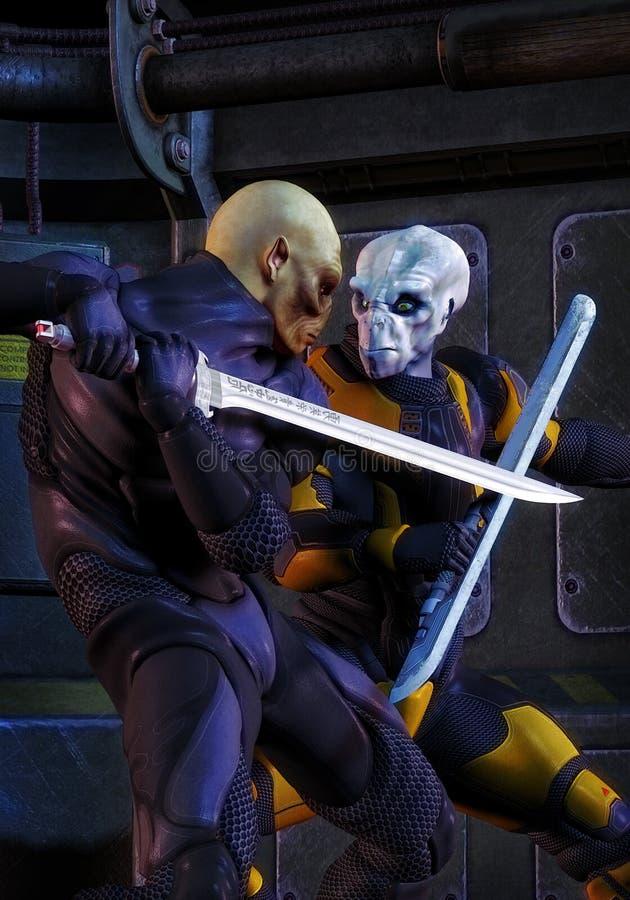 Futuristic alien soldier warriors duellig royalty free illustration