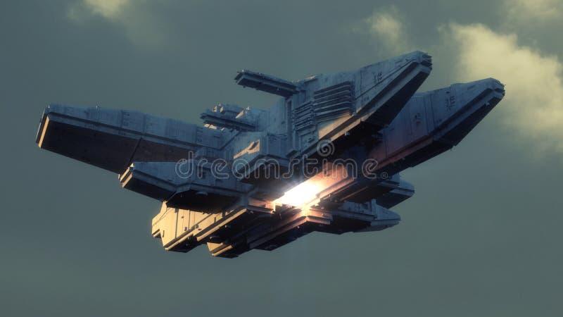 Futuristic alien Spaceship stock illustration