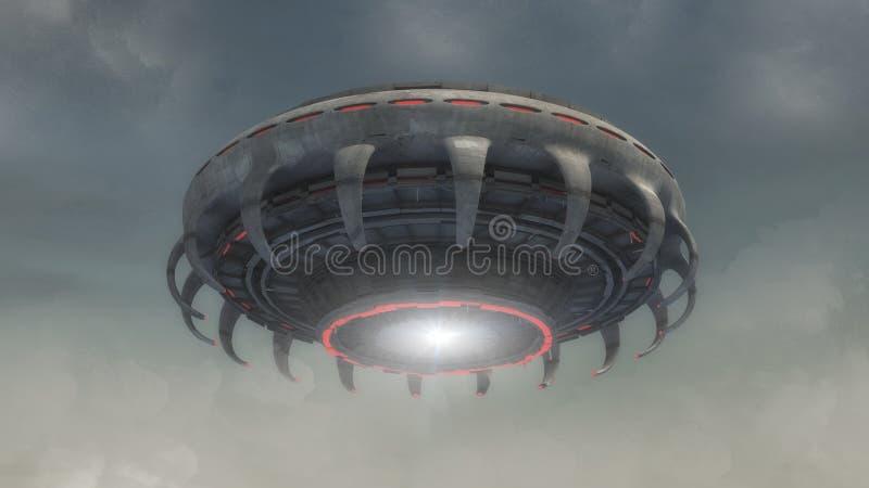 Futuristic alien Spaceship and sky stock photo