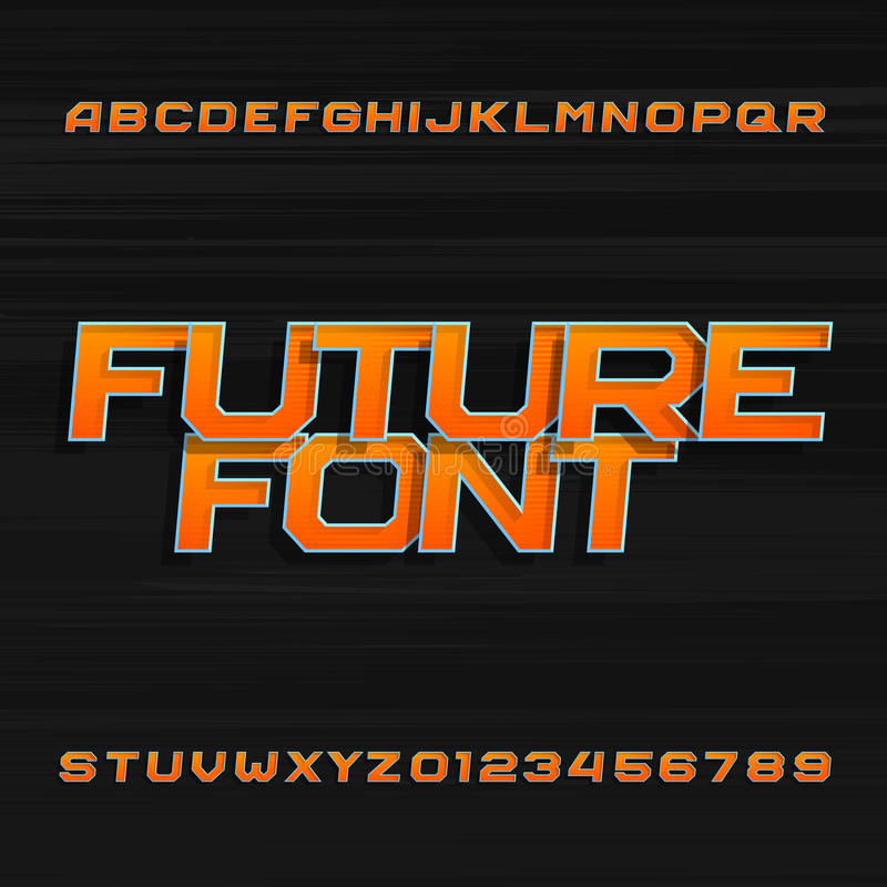 Futuristic alphabet vector font. Effect type letters and numbers on a dark background. Vector typeface for your design royalty free illustration
