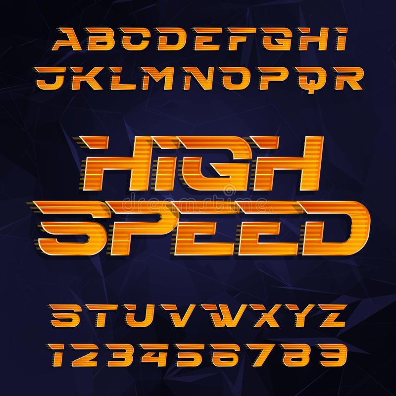 Futuristic alphabet vector font. High speed effect type letters and numbers on a dark polygonal background. Vector typeface for your design vector illustration