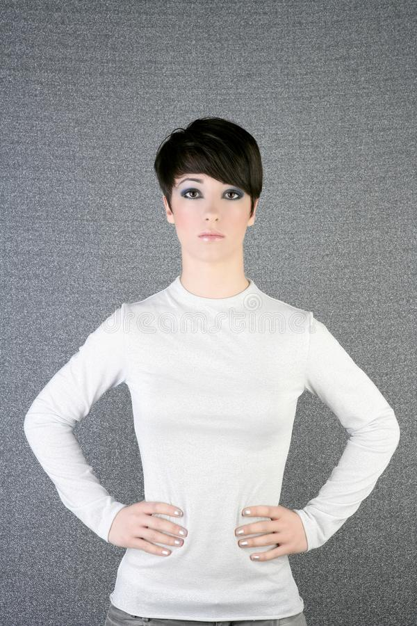 Download Futuristic Androgynous Brunette Woman Silver Stock Image - Image: 15993905