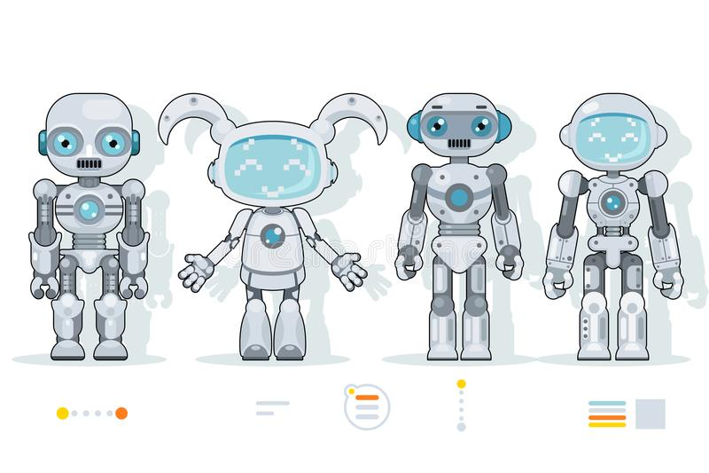 Futuristic android robot characters artificial intelligence information interface flat design icons set vector. Futuristic android robot characters intelligence vector illustration